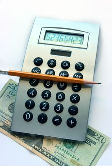 Free Calculator,  Pencil And  Twenty Dollars Bill Stock Photography - 3983282