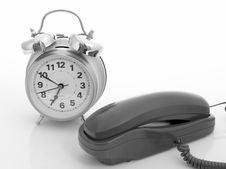Telephone And Alarm Clock Royalty Free Stock Image