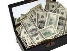 Free Wooden Box Full Of Money Stock Images - 3986754