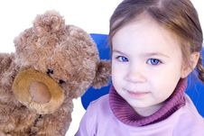 Free A Sweet Baby Girl With Her Teddy Bear Stock Images - 3986964