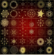 Free Collection Of Gold Winter Snowflakes Royalty Free Stock Photography - 3987057
