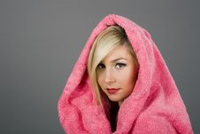 Blonde In Pink Towel Stock Photography