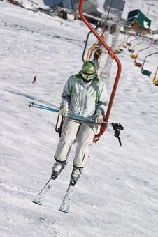 Skier On Chair Lift Royalty Free Stock Photo