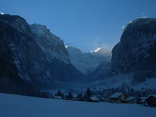 Alps Valley In Winter Royalty Free Stock Photography