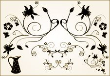 Free Floral  Frame Elements Stock Photography - 3989612
