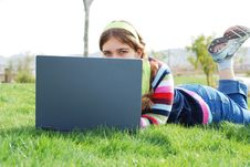 Free Young Girl And Laptop Royalty Free Stock Images - 3989729