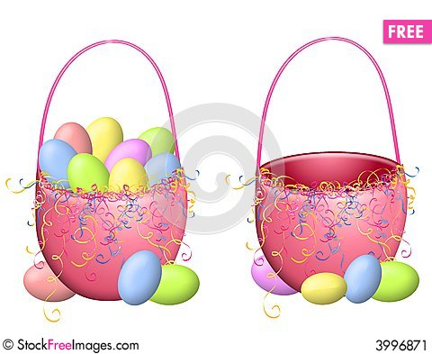 Isolated Easter Baskets And Eggs