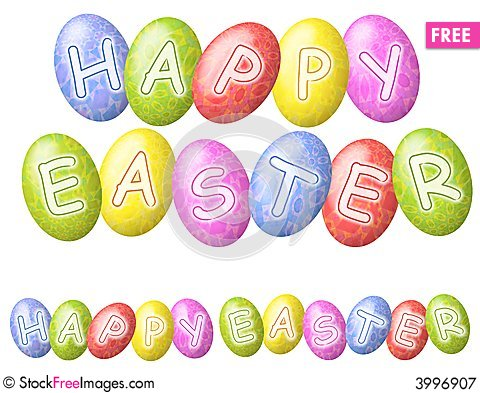 Happy Easter Eggs Logos or Banners Cartoon Illustration