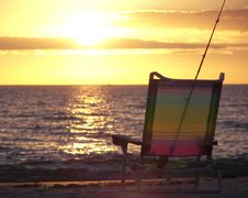 Beach Chair At Sunset Royalty Free Stock Photo