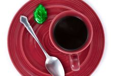 Coffee Cup And Saucer With Chocolate From Above Royalty Free Stock Photo
