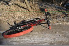 Free Bike In Winter Wood Stock Image - 3991741