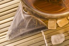 Free White Tea, Nylon Tea-bag And Sugar Stock Photos - 3993013