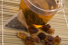 Free White Tea, Nylon Tea-bag And Sugar Stock Photography - 3993022