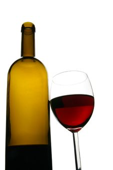 Free Glass And Bottle Of Red Wine Stock Photography - 3993172
