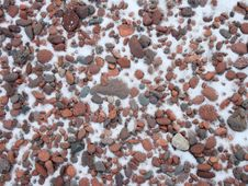 Free Cobbles In Snow On The Agate Beach Stock Images - 3993754