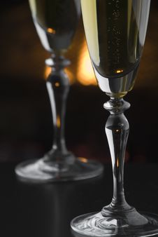 Free Fireside Champage Royalty Free Stock Photo - 3994345