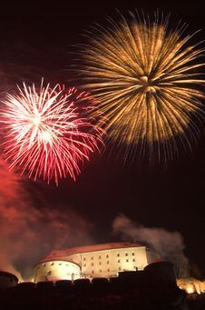 Fireworks In Kufstein Royalty Free Stock Images