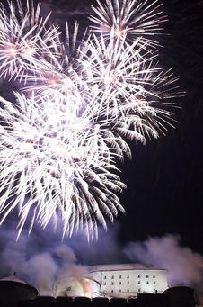 Fireworks In Kufstein Stock Image