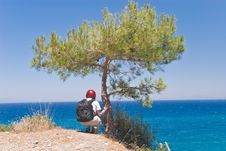 Free Hiker Above Sea Royalty Free Stock Images - 3996479