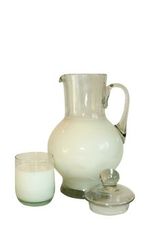 Jug Filled By Milk Stock Photography