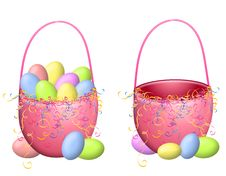 Free Isolated Easter Baskets And Easter Eggs Stock Image - 3996871