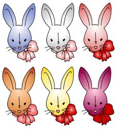 Free Easter Bunny Rabbits Wearing Bows 2 Royalty Free Stock Photos - 3996898