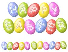 Happy Easter Eggs Logos Or Banners