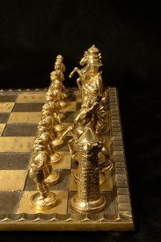 Brass Chess Pieces Stock Photography