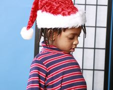 Free Little Boy In A Santa Hat Stock Photo - 400260
