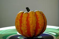 Pumpkin On A Plate 2 Stock Photos