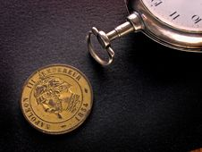Free French Coin And Watch Stock Photography - 407802