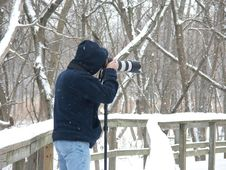 Photographer In The Snow Stock Photos