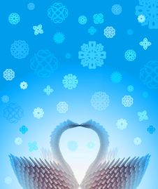 Free Winter Swans Card - Blue Stock Image - 409651
