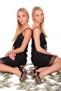Free Twin Girls Sitting On Dollars Royalty Free Stock Photo - 4003845