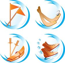Free Four Icons Winter Sport Stock Photography - 4000452