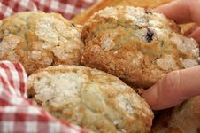 Free Blueberry Muffins In Basket Stock Images - 4002124
