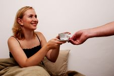 Free Beautiful Woman In Bed Getting Coffee Royalty Free Stock Images - 4002349