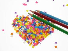 Candy Hearts With Crayon Royalty Free Stock Photos