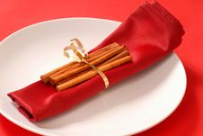 Free Cinnamon Sticks Wrapped In A Red Napkin Stock Photo - 4003210