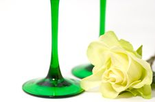 Yellow Rose And Glasses Stock Photo