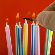 Free Lighting Birthday Candles Royalty Free Stock Images - 4003759