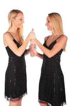 Twin Girls Gesture Ok Royalty Free Stock Images