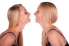 Free Twin Girls Face-to-face Close-up Royalty Free Stock Image - 4003946