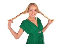 Free Girl In Green Holding Plaits Stock Image - 4003961