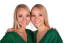 Free Twin Girls Embrace Close-up Stock Photography - 4003972