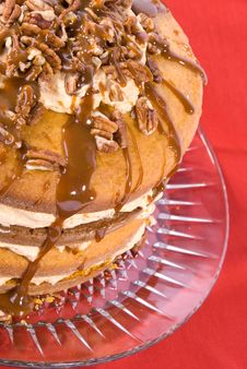 Free Pecan,caramel And Pumpkin Flavored Cake Royalty Free Stock Photos - 4004528