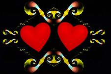 Free Two Hearts Enclosed By Fractal Frame Stock Images - 4004624