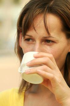 Free Woman Drinking Coffee Stock Image - 4006341