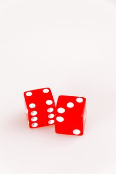 Isolated Lucky Red Dice Showing Seven Stock Photography
