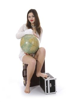 Free Young Woman With  Suitcase And Globe Royalty Free Stock Image - 4007686